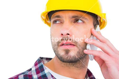 Repairman on the phone