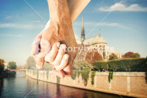 Composite image of happy senior couple holding hands