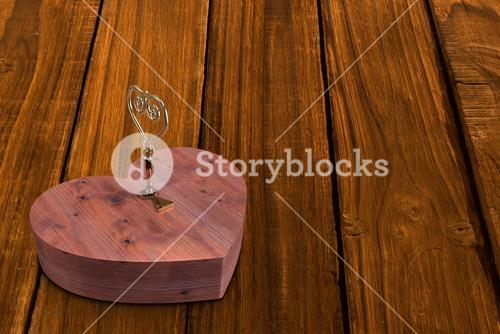 Wooden heart lock with gold key