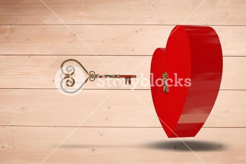Composite image of love heart lock