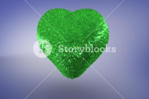 Deep green heart on blue background