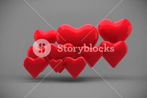 Composite image of love hearts