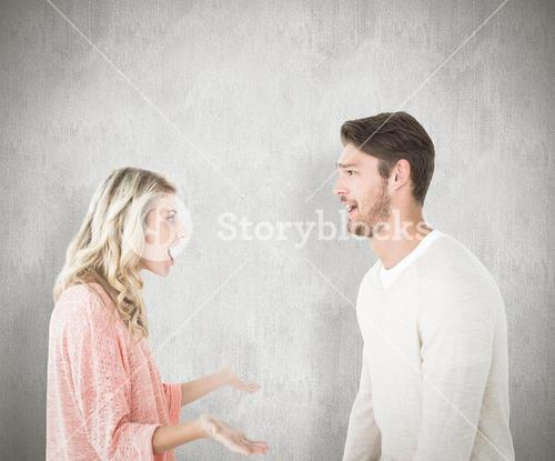 Composite image of attractive couple talking about something shocking