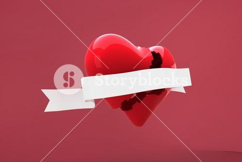 Composite image of heart with scroll
