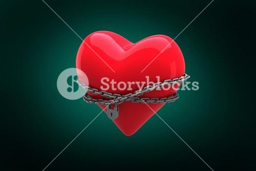 Composite image of locked heart