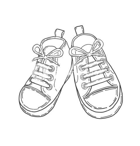 Hand drawn baby shoes in black vector