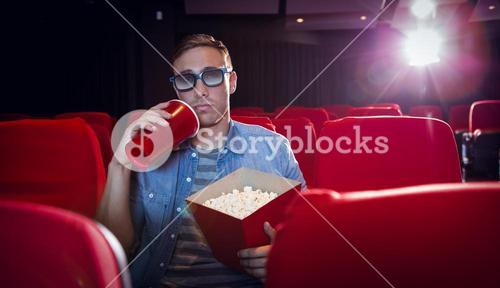 Young man watching a 3d film