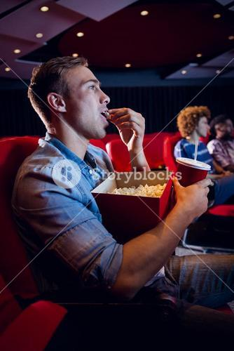 People watching a film
