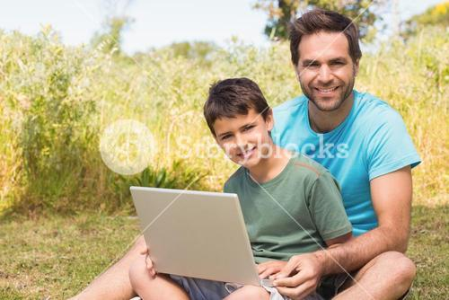 Father and son in the countryside