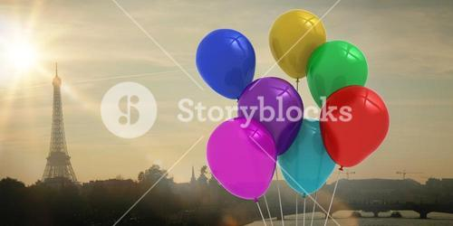 Composite image of colourful balloons