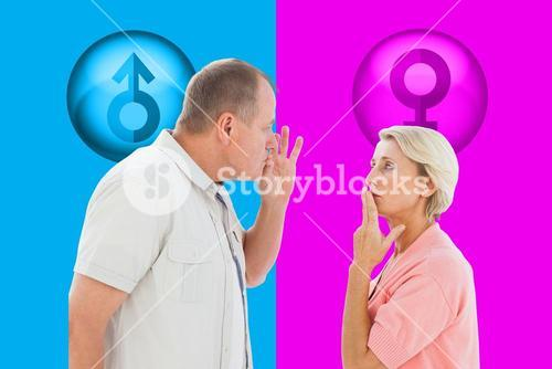 Composite image of older couple holding hands to mouth for silence