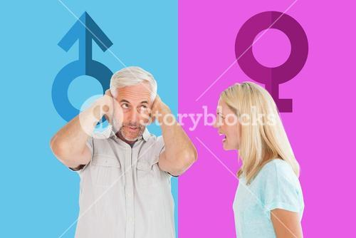 Composite image of unhappy couple having an argument with man not listening