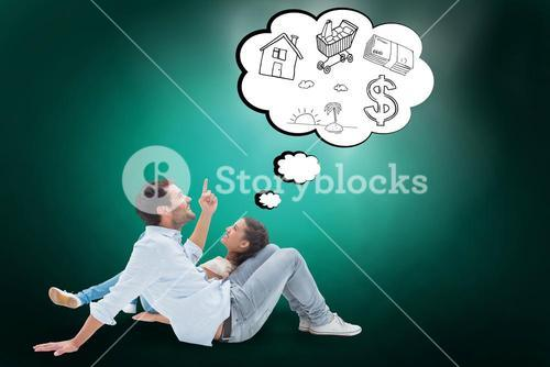 Composite image of attractive young couple lying down