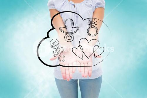 Composite image of casual young woman holding hands out