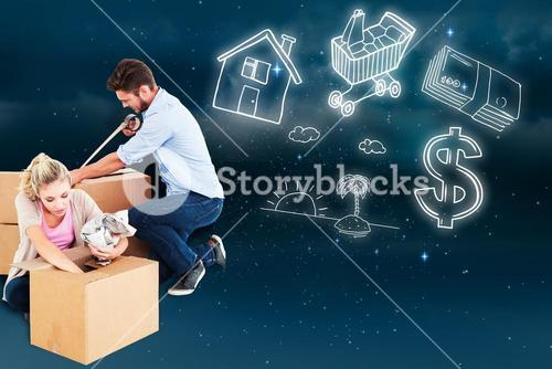 Composite image of young couple packing moving boxes