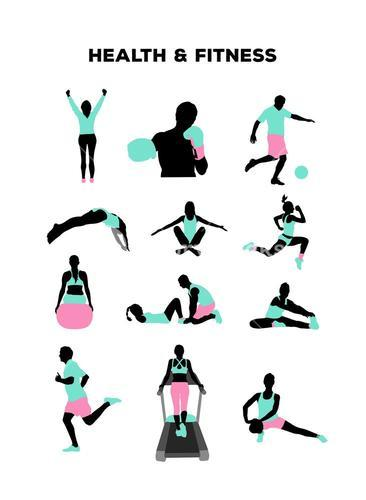 Health and fitness characters vector