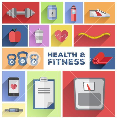 Health and fitness tiles vector