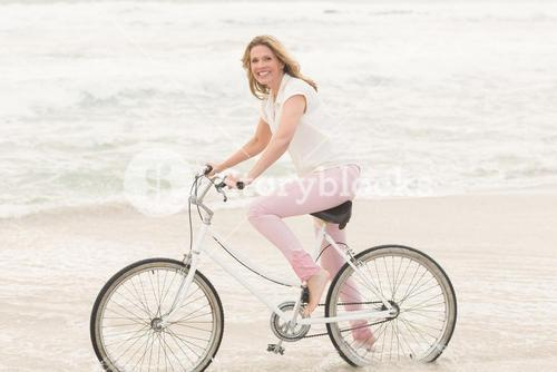 Casual woman on a bike ride