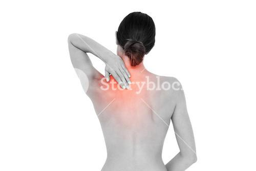 Highlighted back pain of woman