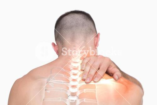 Highlighted shoulder pain of man