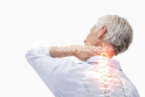 Highlighted spine pain of man