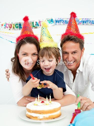Little boy celebrating his birthday at home