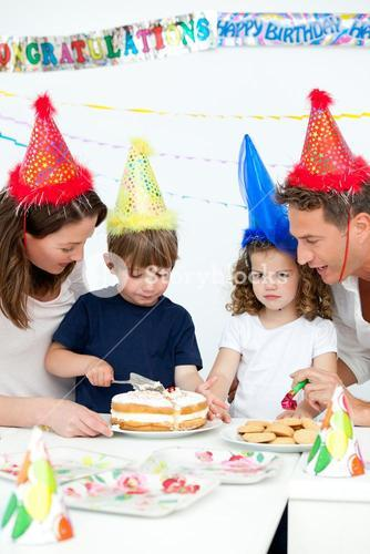 Lovely family celebrating a birthday together