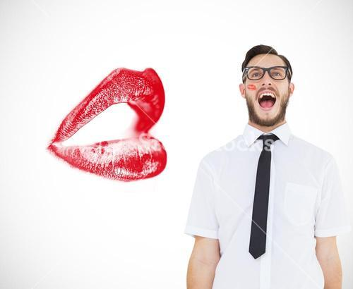 Composite image of geeky young businessman shouting loudly