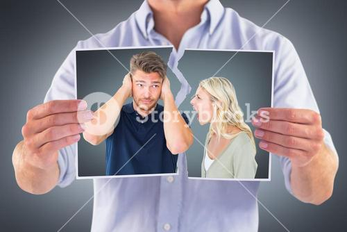 Composite image of man not listening to his shouting girlfriend