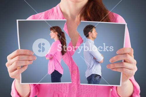 Composite image of man and woman facing away