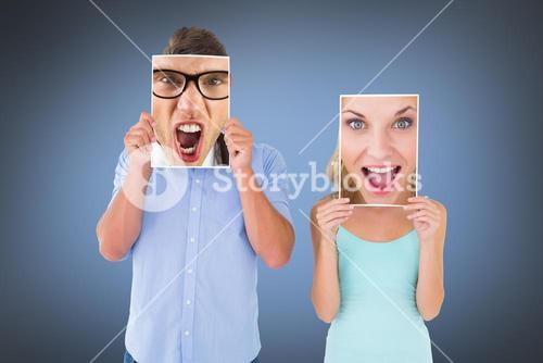 Composite image of pretty young blonde feeling surprised