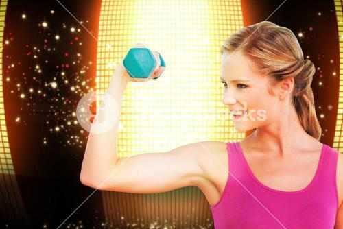 Composite image of fit blonde lifting dumbbell and flexing