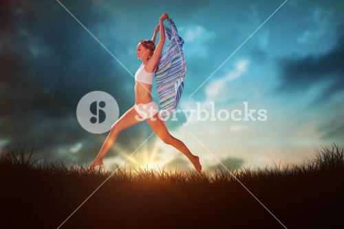 Composite image of gorgeous fit blonde leaping with scarf