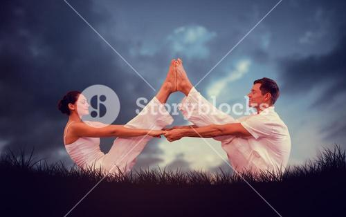 Composite image of peaceful couple sitting in boat position together