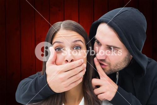 Composite image of woman being attacked by scary man