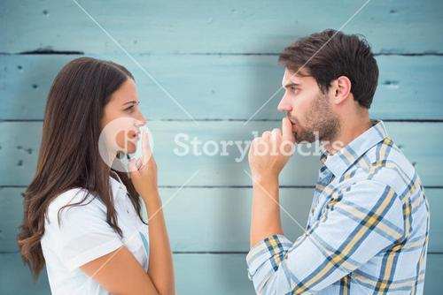 Composite image of upset young couple not talking