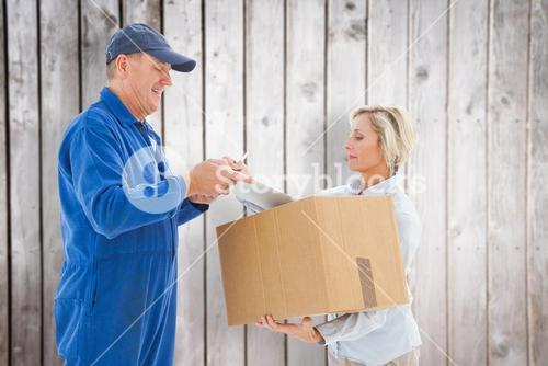 Composite image of happy delivery man with customer