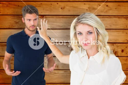 Composite image of young blonde not listening to boyfriend
