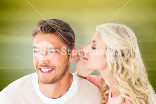 Composite image of attractive blonde whispering secret to boyfriend