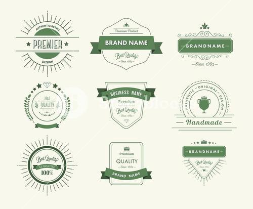 Green premium quality advertisement badges