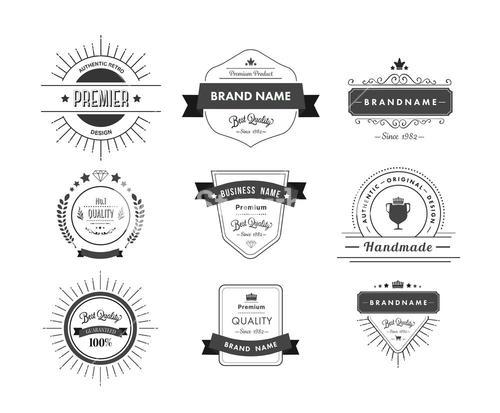 Black premium quality advertisement badges
