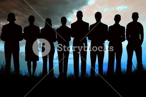Composite image of silhouette of business people in a row