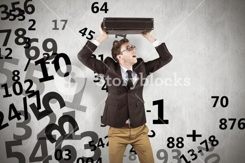 Composite image of young geeky businessman holding briefcase