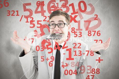 Composite image of geeky shrugging businessman biting calculator