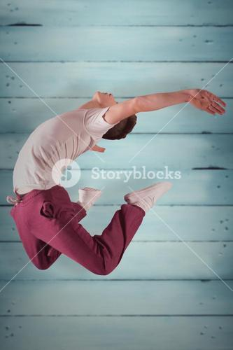 Composite image of cool break dancer