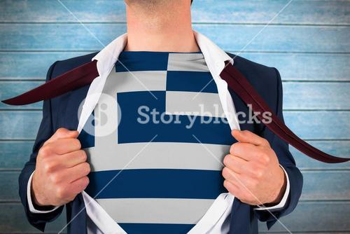Composite image of businessman opening shirt to reveal greece flag