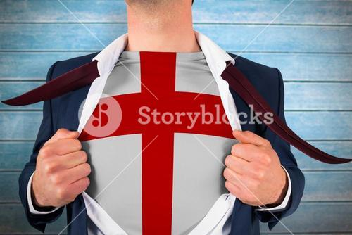 Composite image of businessman opening shirt to reveal england flag