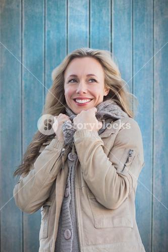 Composite image of smiling blonde