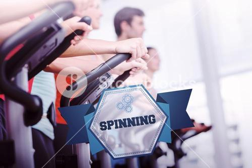 The word spinning and fit people working out