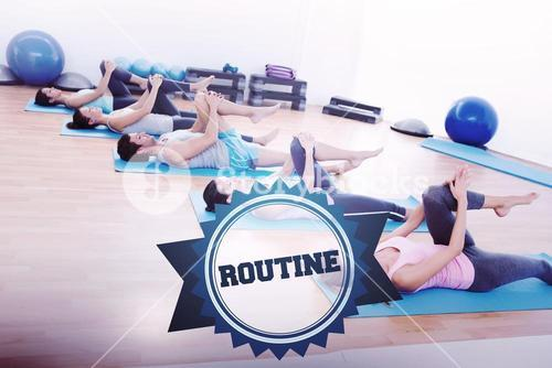 The word routine and sporty people stretching legs